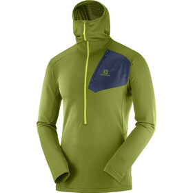 Salomon Grid Midlayer halve rits met Capuchon Heren, avocado/night sky